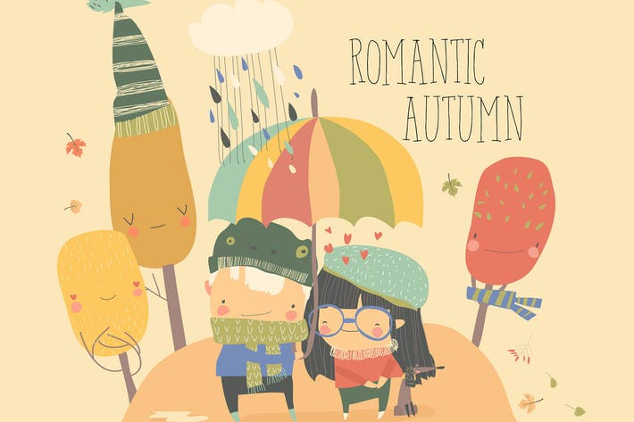 Couple in love walking under umbrella. Vector