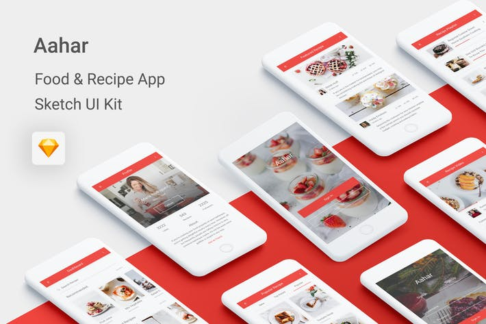 Thumbnail for Aahar - Food & Recipe UI Kit for Sketch