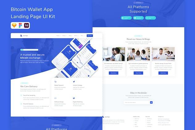 Bitcoin Wallet App Landing Page UI Kit