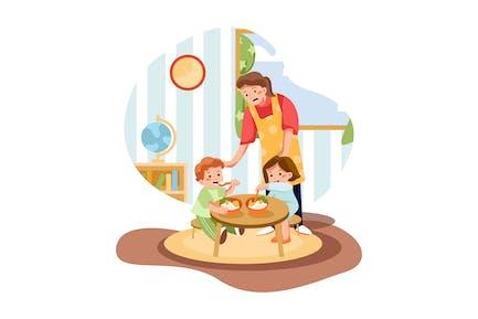 Kids Eating Meal In Preschool