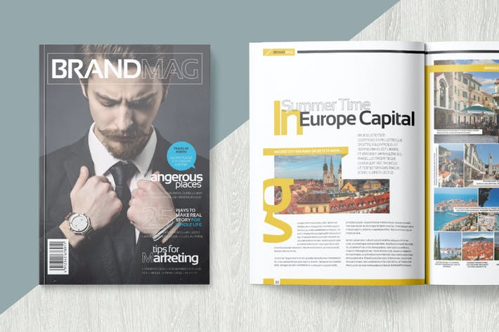 Magazine template by becreative on envato elements for E magazine templates free download