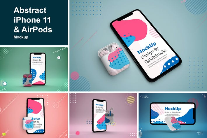 Thumbnail for Abstract iPhone 11 & AirPods Mockup