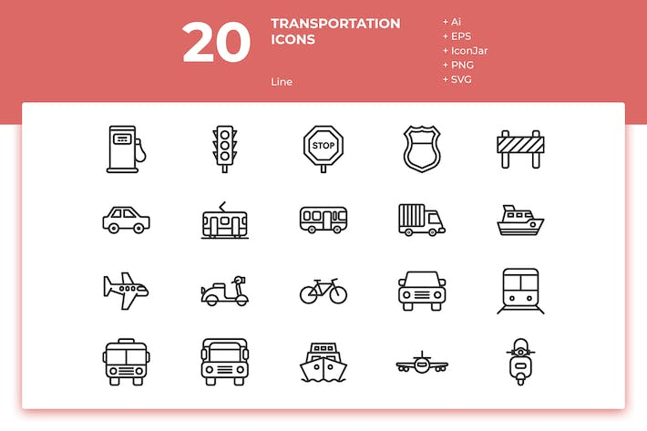 Cover Image For 20 Transportation Icons (Line)