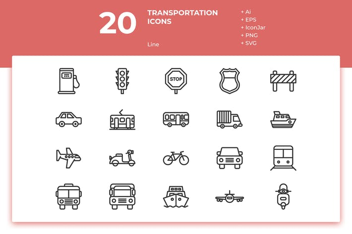 Thumbnail for 20 Transportation Icons (Line)