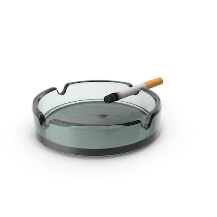 Glass Ashtray with Burning Ciggarete