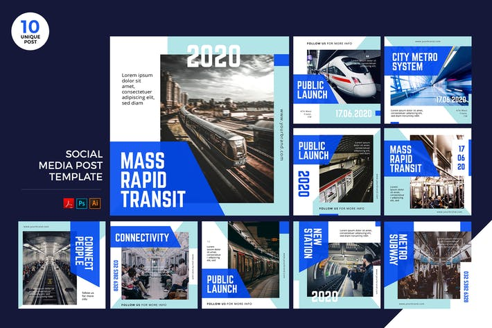 Thumbnail for Mass Rapid Transit Social Media Kit PSD & AI