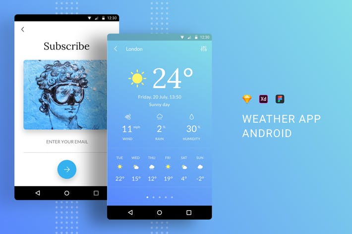 Thumbnail for Weather App UI Kit Android