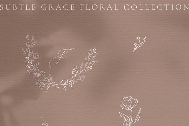 White Subtle Grace. Line drawing delicate wreaths.