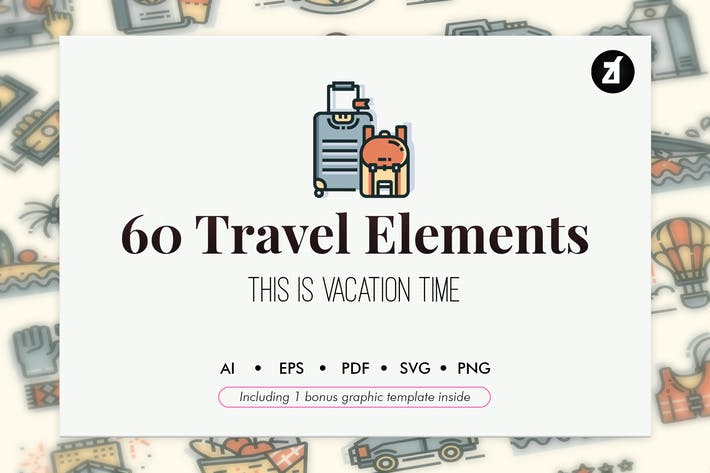 Thumbnail for 60 Travel elements with bonus graphic template