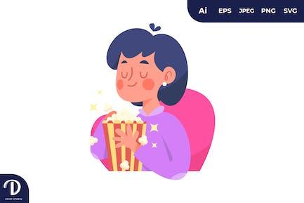 Girl Eating Popcorn Illustration