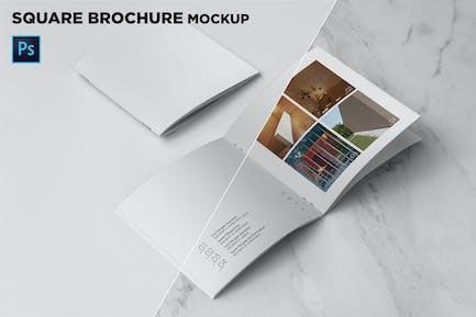 Square Brochure Cover & Open Pages Mockup
