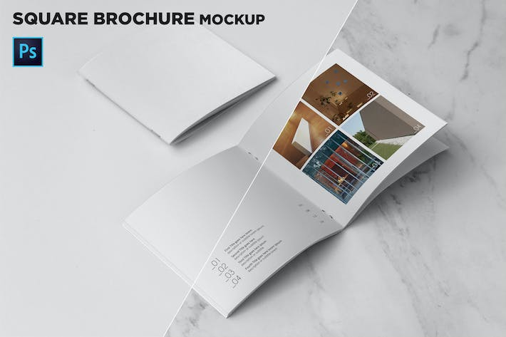 Thumbnail for Square Brochure Cover & Open Pages Mockup