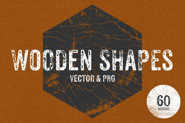 Wooden Shapes - Vector & PNG