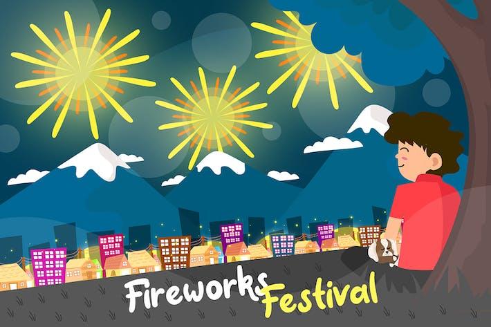 Thumbnail for Fireworks Festival - Vector Illustration