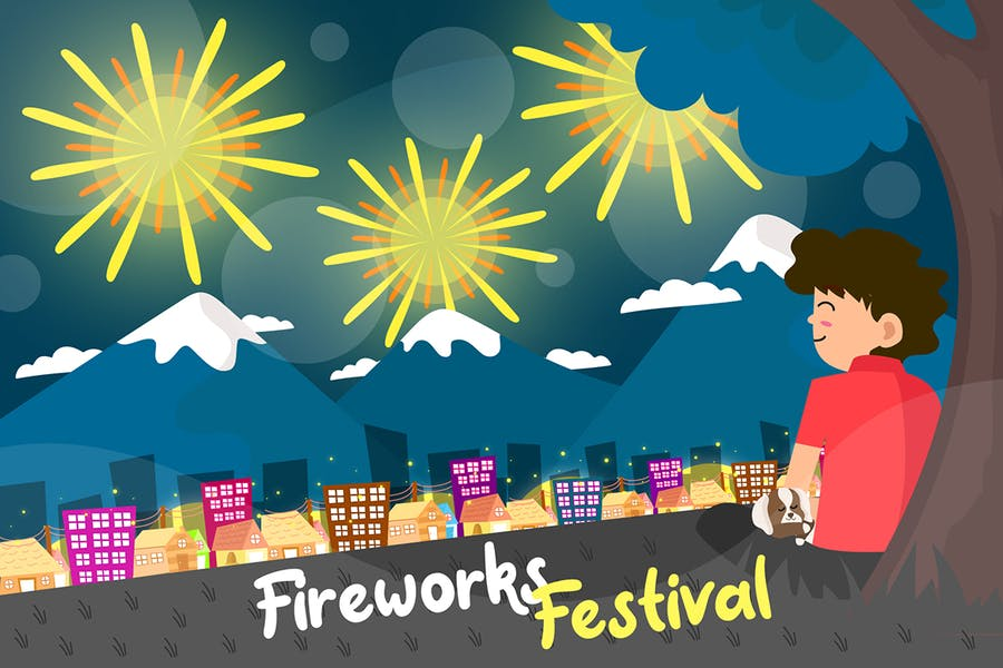 Fireworks Festival - Vector Illustration
