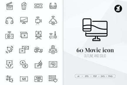 60 Minimal-Symbolpaket für Filme und Unterhaltung