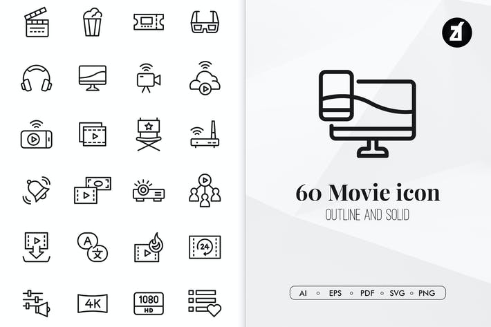 Thumbnail for 60 Movie and entertainment minimal icon pack