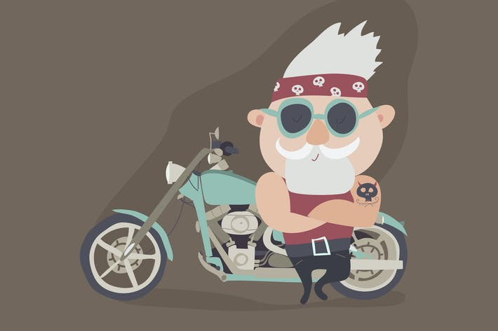 My grandfather forever young biker. Vector