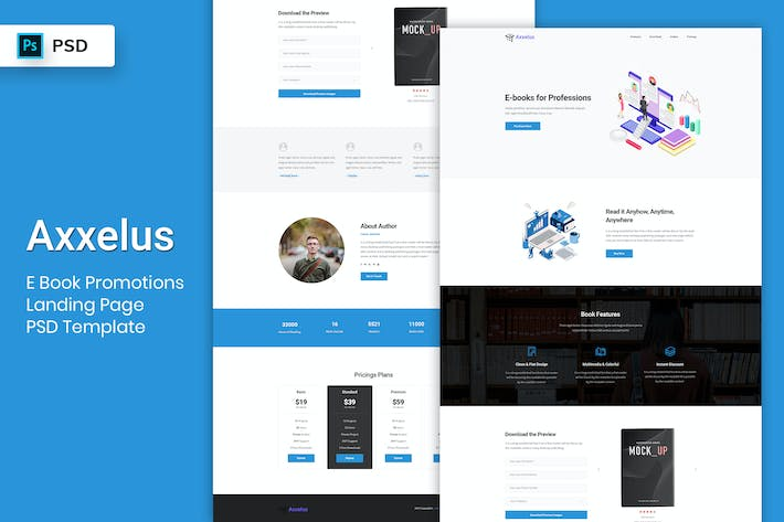 Thumbnail for E-Book Promotion - Landing Page PSD Template-02