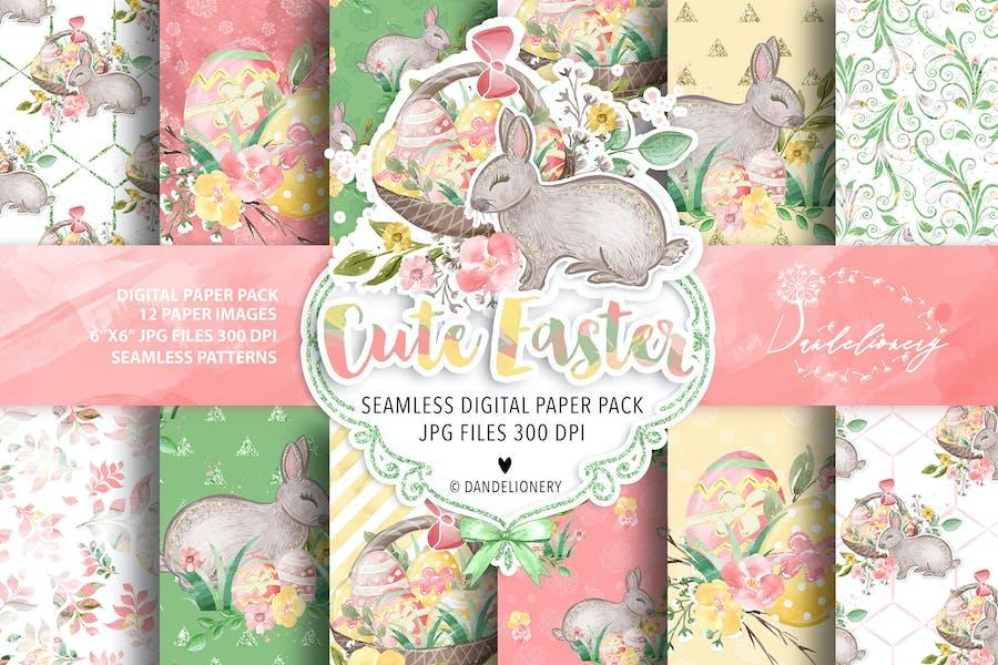 Cute Easter digital paper pack