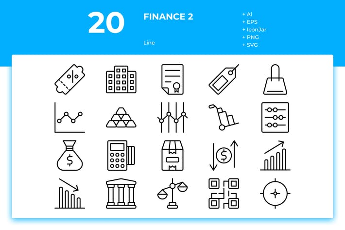 Thumbnail for 20 Finance Icons Vol. 2 (Line)