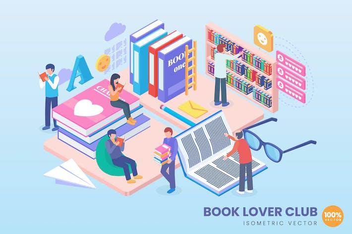 Isométrica Book Lover Club Concepto Ilustración
