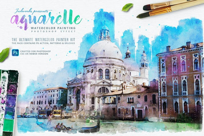 Cover Image For Aquarelle Watercolor Painting Photoshop Action