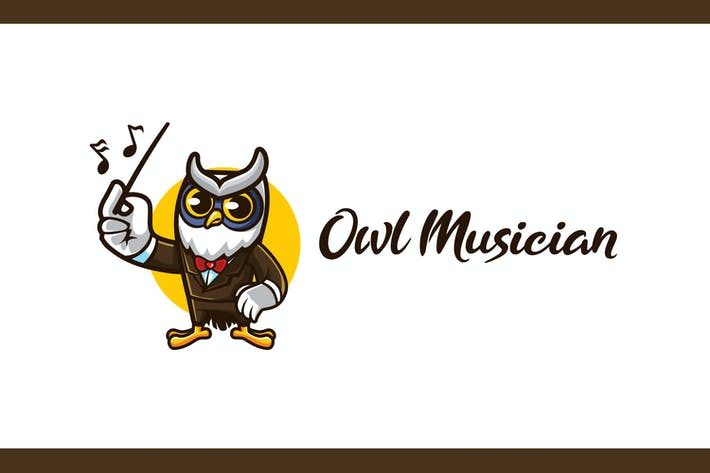 Cartoon Owl Musician Mascot Logo