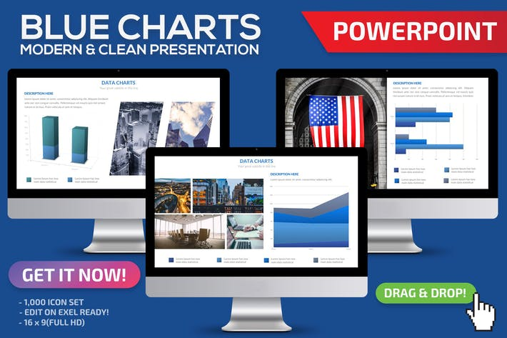 Thumbnail for Blue Charts Powerpoint Template