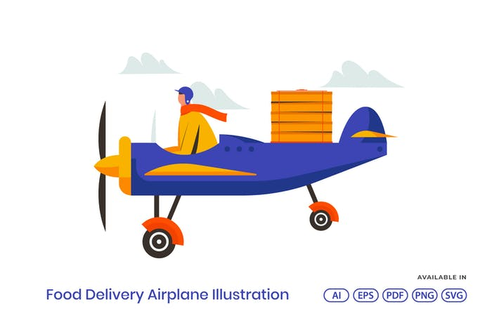 Thumbnail for Food Delivery Airplane Illustration