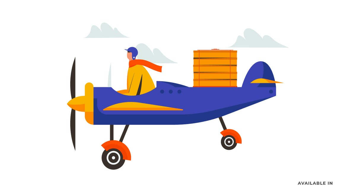 Download Food Delivery Airplane Illustration by visuelcolonie