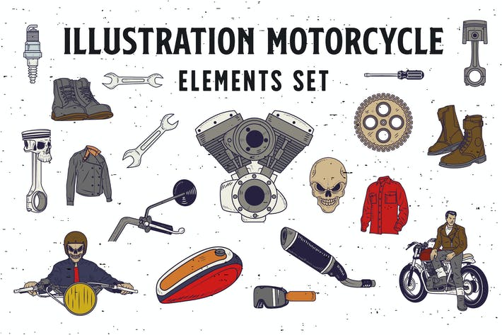 Cover Image For 18 Illustration Motorrad-Elemente