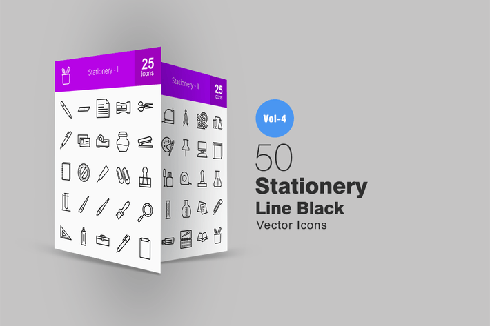 Thumbnail for 50 Stationery Line Icons