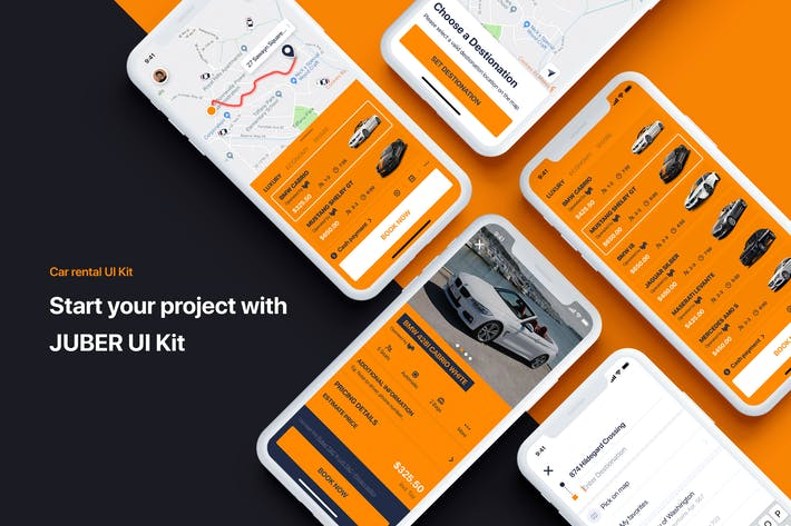 Thumbnail for Car rental mobile UI Kit - Booking a car
