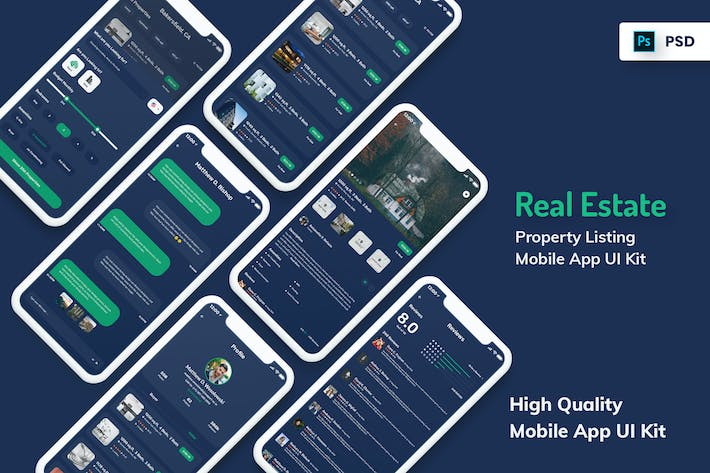 Thumbnail for Real Estate & Property Mobile App Dark Version