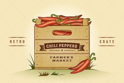 Retro Kiste Chili Paprika