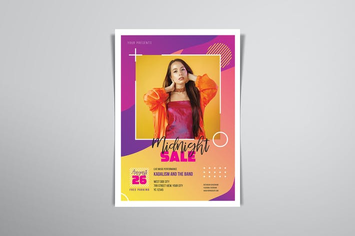 Cover Image For Midnight Sale Flyers Template