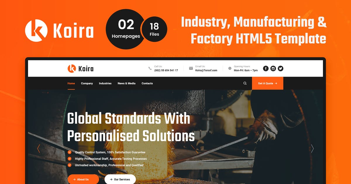 Download Koira - Industry and Manufacturing HTML5 Template by 7oroof