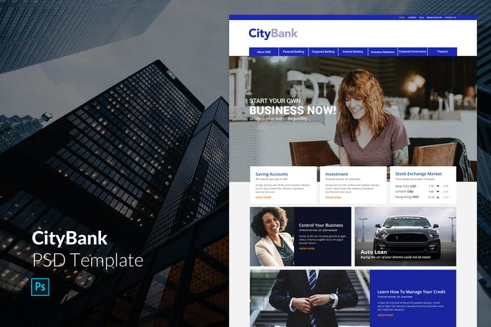 Thumbnail for City Bank PSD Template