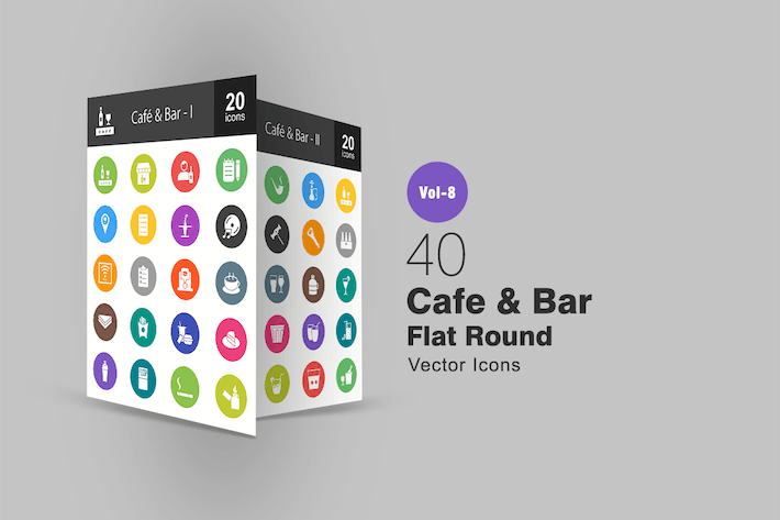 Thumbnail for 40 Cafe & Bar Flat Round Icons