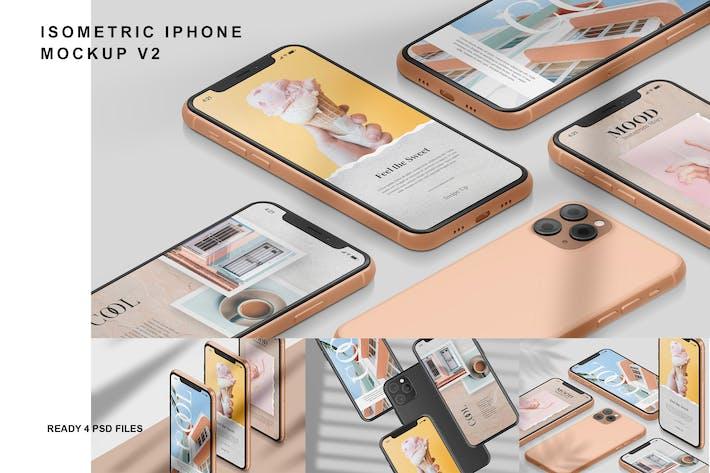 Thumbnail for Isometric iPhone - Mockup Vol.2