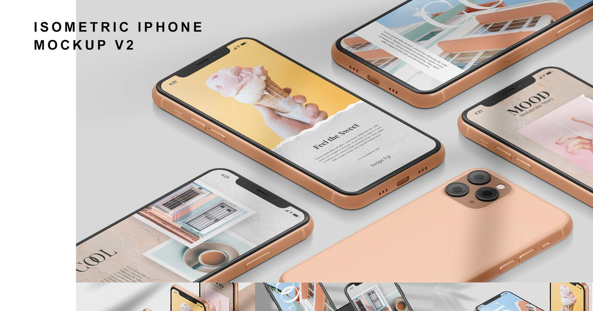 Download Isometric iPhone - Mockup Vol.2 by GraphicGata