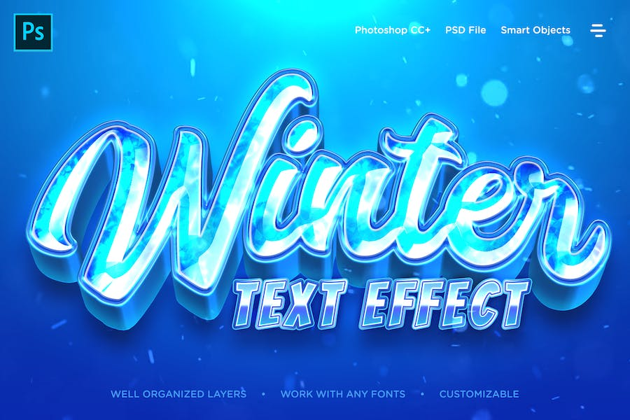 Winter Icy Frozen Realistic 3D Text Effects