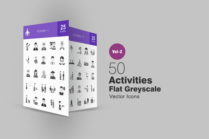 Thumbnail for 50 Activities Greyscale Icons