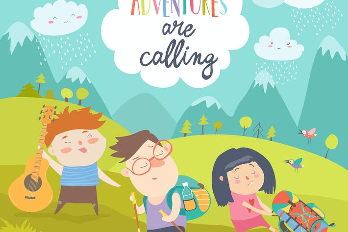 Cover Image For Kids hiking up the mountain. Vector illustration