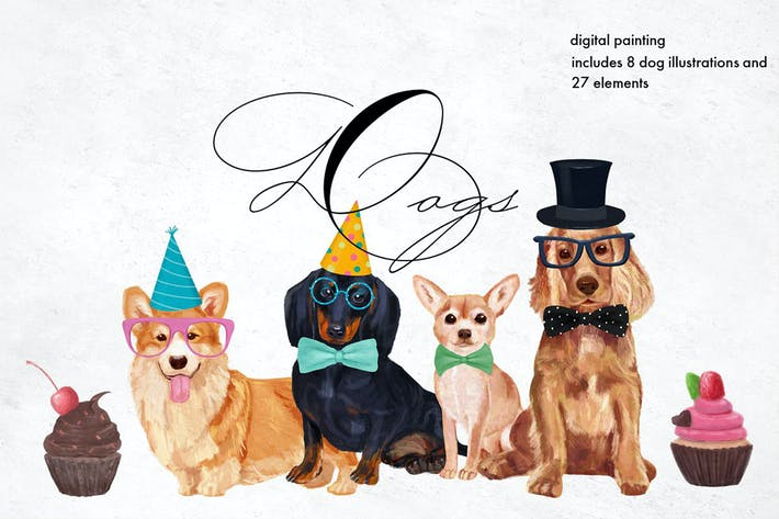 Thumbnail for Dog breeds Illustrations