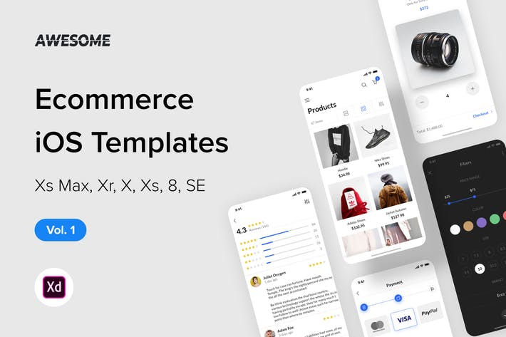 Thumbnail for Awesome iOS UI Kit - Ecommerce Vol. 1 (Adobe XD)