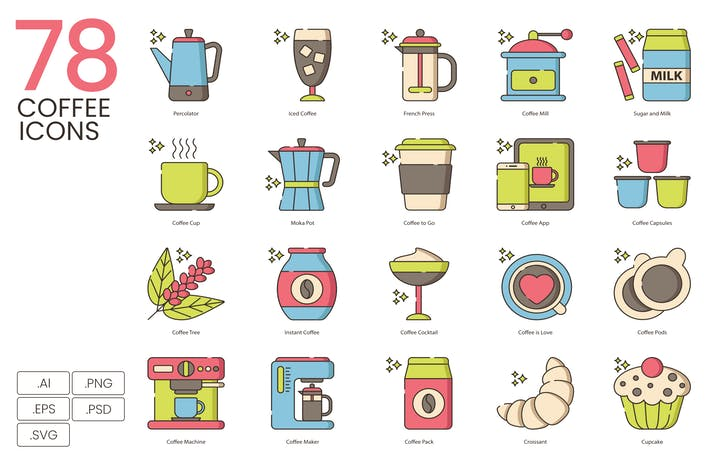 Thumbnail for 78 Coffee Icons - Hazel Series