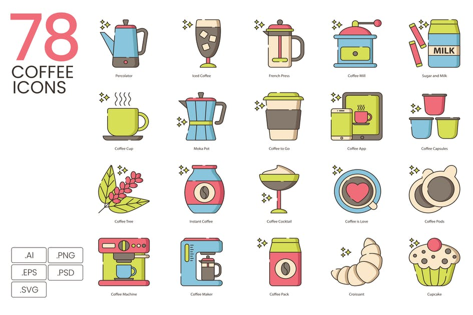 Download 78 Coffee Icons - Hazel Series by Krafted