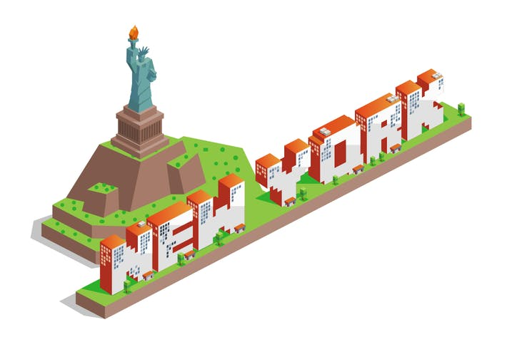 Cover Image For New York city isometric text flat vector